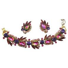 Vintage Juliana Book Piece Purple Amethyst Watermelon Rhinestone  Earrings and Bracelet Demi Parure