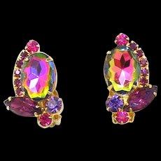 Vintage Juliana Purple Amethyst Watermelon Rhinestone Earrings