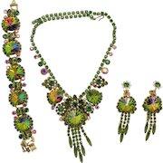 Vintage Juliana Book Piece Olivine Green Watermelon Rivoli Rhinestone Necklace Bracelet Dangle Earrings Parure