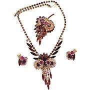 "Vintage Juliana Book Piece Amethyst, Fuchsia, Purple and Lavender Rhinestone ""Owl"" Necklace Brooch Earrings Parure"