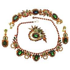 Vintage Juliana Book Piece Fall Watermelon Topaz Green Rhinestone Necklace, Bracelet, Brooch and Dangle Earrings Grand Parure