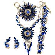 Vintage Juliana Book Piece Capri Blue AB Rhinestone Sunburst Necklace, Bracelet, Brooch Earrings Grand Parure