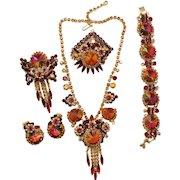 Vintage Juliana Book Piece Red Topaz Volcano Rivoli Rhinestone Necklace Bracelet Brooch Earrings Grand Parure