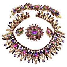 Vintage Juliana Book Piece Purple Amethyst Watermelon Rhinestone Collar Necklace, Brooch, Earrings, Bracelet Grand Parure