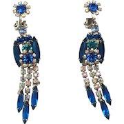 "Vintage Juliana Book Piece Blue, Green and Teal Rhinestone ""Owl"" Dangle Earrings - REPAIR"