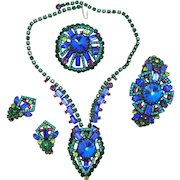 Vintage Juliana Book Piece Blue Neon Geometric Rivoli Rhinestone Necklace, Clamper Bracelet, Brooch and Earrings Grand Parure