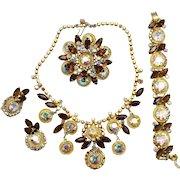 Vintage Juliana Book Piece Topaz AB Headlight and Braided Metal Necklace Bracelet Brooch Earrings Grand Parure