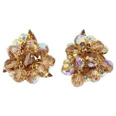 Vintage Juliana Topaz Rhinestone Topaz AB Crystal Bead Earrings