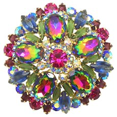 Vintage Juliana Book Piece Blue Green Watermelon Amethyst Rhinestone Brooch