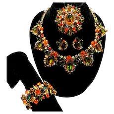 Vintage Juliana Book Piece Fall Colored Watermelon Orange Topaz Green Rhinestone bib necklace, bracelet, brooch earrings Grand Parure