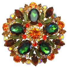 Vintage Juliana Book Piece Fall Colored Topaz Green Orange Watermelon Rhinestone Brooch