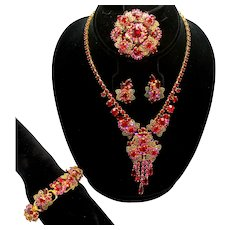 Vintage Juliana Red and Fuchsia Pink Rhinestone Filigree Leaf Necklace, Bracelet, Brooch and Earrings Grand Parure