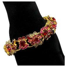 Vintage Juliana Red, Fuchsia Pink Rhinestone Filigree Leaf Bracelet