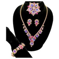 Vintage Juliana Fuchsia Pink Lavender Rhinestone Flower Pillowcase Necklace Bracelet Brooch Earrings Grand Parure