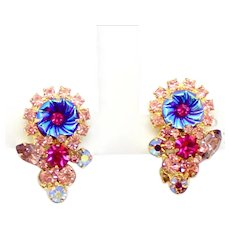 Vintage Juliana Fuchsia Pink Lavender Rhinestone Flower Pillowcase Earrings