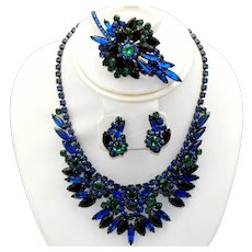 Vintage Juliana Book Piece Blue, Green, Black Rhinestone Necklace, Brooch, Earrings Parure