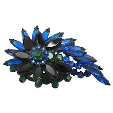 Vintage Juliana Blue, Green, Black Rhinestone Brooch