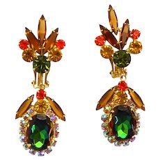 Vintage Juliana Book Piece Fall Colored Topaz Olivine Orange Watermelon Rhinestone Dangle Earrings