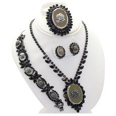 Vintage Juliana Hematite Rose Cameo Black Rhinestone Necklace Bracelet Brooch Earrings Grand Parure Book Piece
