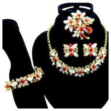 Vintage Juliana Frosted White Orange Rhinestone Necklace Bracelet Brooch Earrings Grand Parure Book Piece