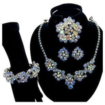 Vintage Juliana Blue Rhinestone Florette Necklace Bracelet Brooch Earrings Grand Parure