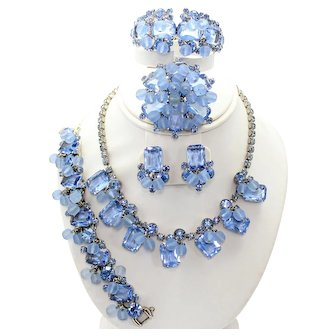 Vintage Juliana Baby Blue Rhinestone and Frosted Crystal Bead Necklace, Bracelet Clamper Brooch Earrings Grand Parure Book Piece