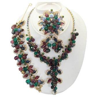 "Vintage Juliana Amethyst, Green and Blue Rhinestone Bead ""Mardi Gras"" Necklace, Bracelet, Brooch Earrings Grand Parure Book Piece"