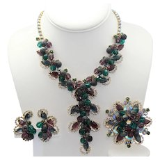 "Vintage Juliana Amethyst, Green and Blue Rhinestone Bead ""Mardi Gras"" Necklace, Brooch Earrings Parure Book Piece"