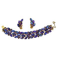 Vintage Juliana Book Piece Peacock Purple Rhinestone Bracelet and Earrings Demi Parure