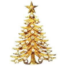 Vintage MyLu Faux Pearl and AB Rhinestone Christmas Tree Brooch
