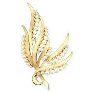 Vintage Trifari Faux Pearl and Clear Rhinestone Abstract Flowering Leaf Brooch