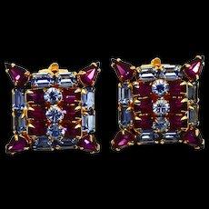 Vintage Kramer  Blue Ice Purple Rhinestone Earrings