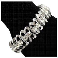 Vintage Trifari Clear Rhinestone Silver Toned Metal Swirls Bracelet