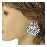 Vintage Large Juliana Clear Baguette Rivoli Rhinestone Clip Earrings