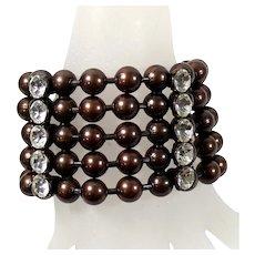 Vintage Huge Juliana Darkened Copper Colored Ball Chain Rhinestone Bracelet MR DELIZZA PERSONAL COLLECTION