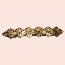 Vintage Juliana Brushed Gold Toned Diamonds Barrette MR DELIZZA PERSONAL COLLECTION