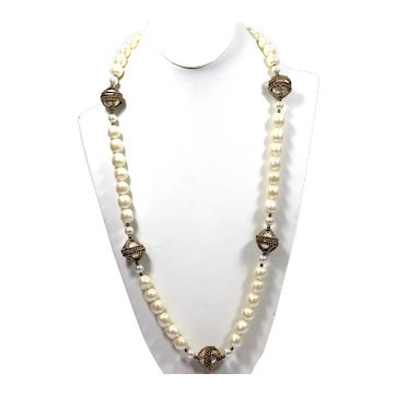 Vintage Juliana Caged Faux Baroque Pearl Long Necklace MR DELIZZA PERSONAL COLLECTION