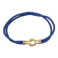 Vintage Juliana Blue Stretch Cord Interlocking Hammered Metal Belt Book Piece MR DELIZZA PERSONAL COLLECTION