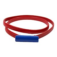 Vintage Juliana Patriotic Blue and Red Painted Cobra Chain Stretch Belt MR DELIZZA PERSONAL COLLECTION