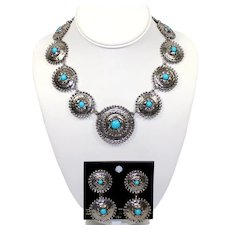 Vintage Juliana for Bijoux Terner Faux Turquoise Native American Style Concho Necklace Dangle Earrings Dem Parure MR DELIZZA PERSONAL COLLECTION