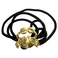 Vintage Doreen Ryan Matte Gold Toned Crab Buckle Black Cord Stretch Belt MR DELIZZA PERSONAL COLLECTION
