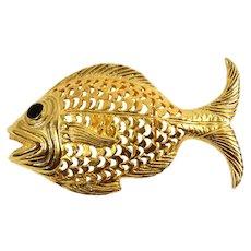 Vintage Doreen Ryan Gold Toned Black Enamel Fish Belt Buckle MR DELIZZA PERSONAL COLLECTION
