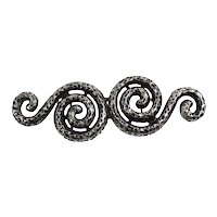 Vintage Doreen Ryan Textured Silver Blacken Double Snake Belt Buckle MR DELIZZA PERSONAL COLLECTION