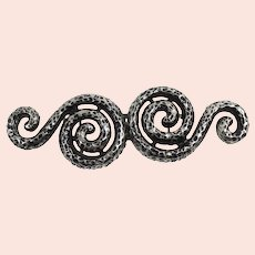 Vintage Doreen Ryan Textured Silver Blacken Double Snake Belt Buckle MR DELIZZA PERSONAL COLLECTION