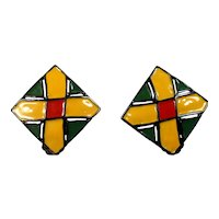 Vintage Juliana Red, Green and Yellow Enamel Square Earrings MR DELIZZA PERSONAL COLLECTION