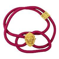 Vintage Juliana Figural Lion Head Fuchsia Pink Cord Belt MR DELIZZA PERSONAL COLLECTION