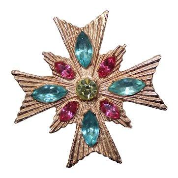 Vintage Pink Aqua Blue Citrine Yellow Rhinestone Maltese Cross Brooch