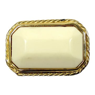 Vintage Tailored Style Large Cream Gold Metal Brooch