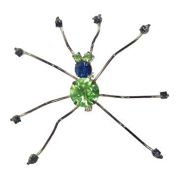 Vintage Large Peridot Green and Blue Rhinestone Spider Bug Brooch