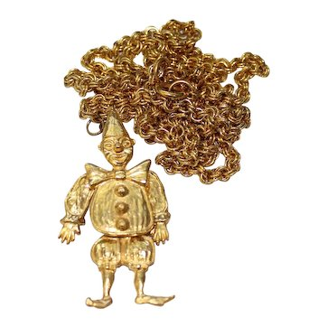 Vintage Gold Toned Articulated or Jointed Clown Pendant Necklace